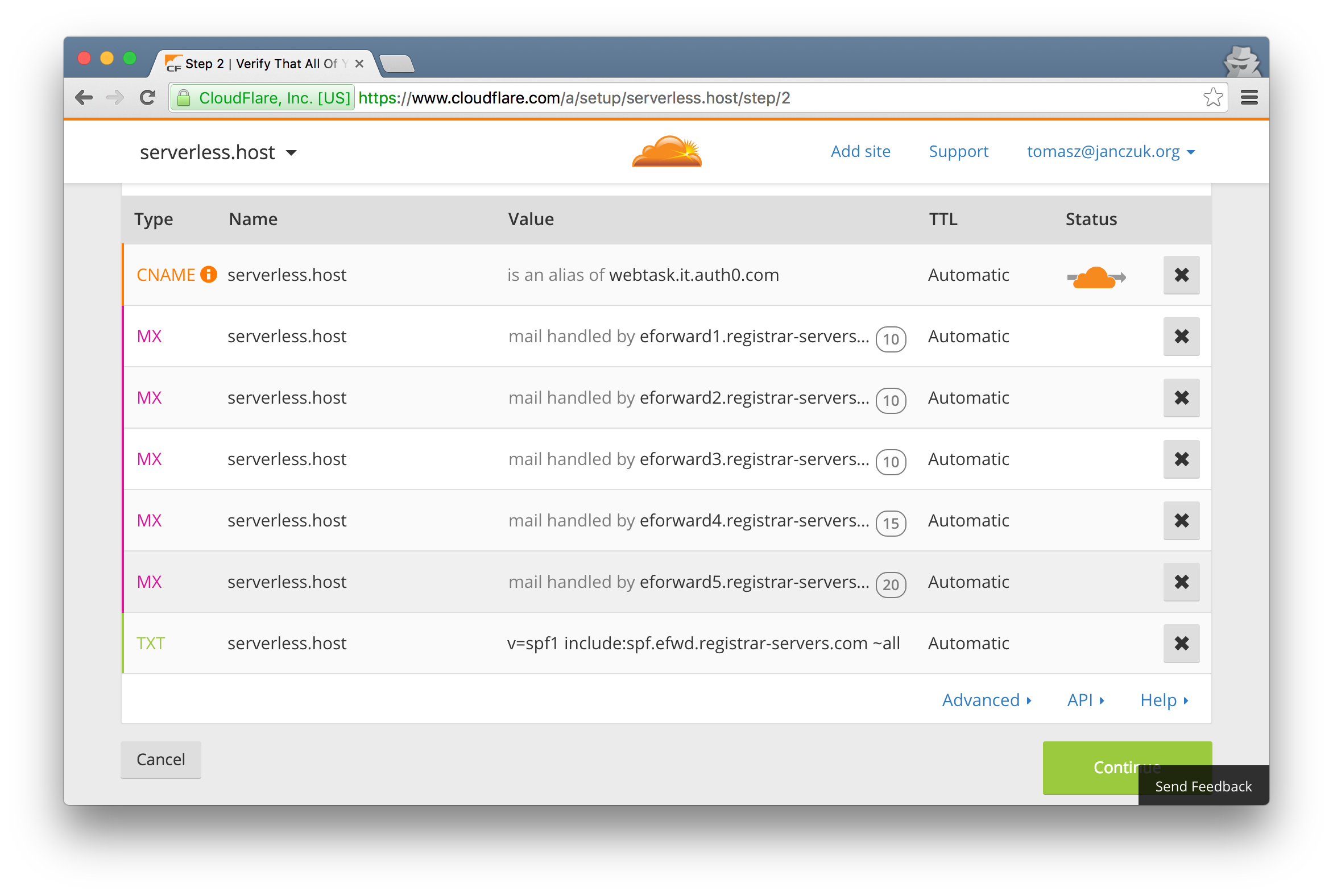 Add CNAME record from custom webtask domain to webtask hostname through CloudFlare DNS management panel