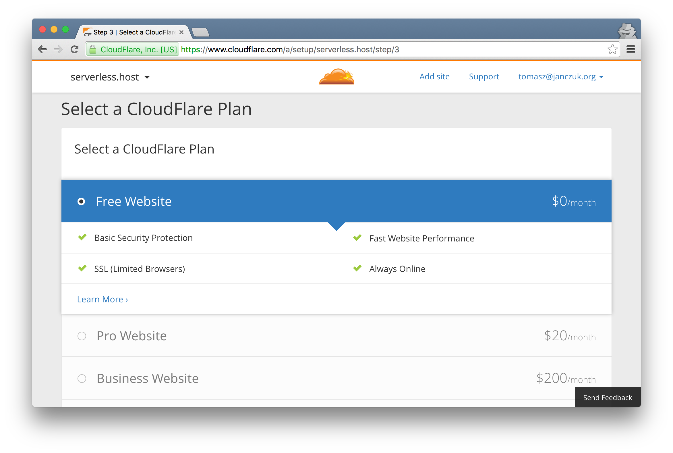 Choose Free CloudFlare plan