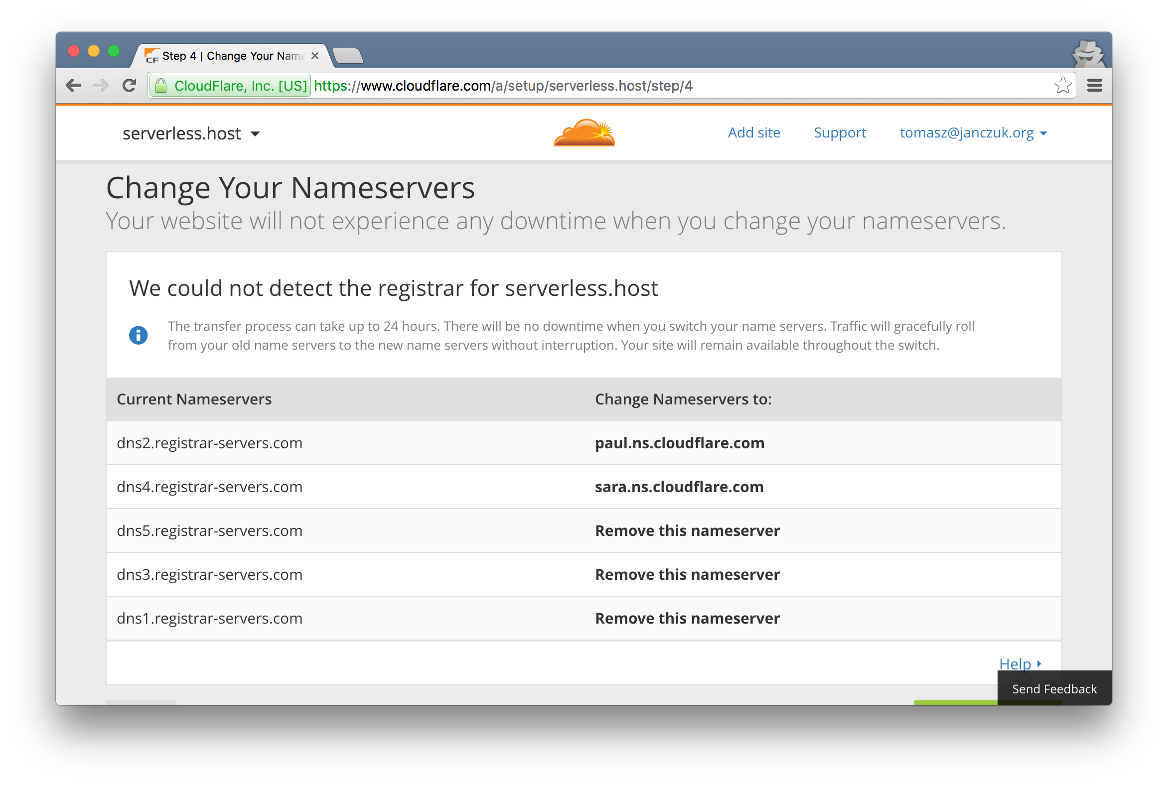New CloudFlare name servers to configure with your domain name registrar